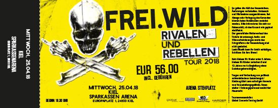 Frei.Wild, 25.04.2018 - Rivalen & Rebellen Arena, Kiel [DE], Sparkassen Arena