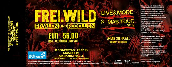 Frei.Wild, 28.12.2018 - R&R LIVE&MORE X-MAS Tour, Mannheim [DE], Maimarkthalle