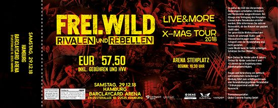 Frei.Wild, 29.12.2018 - R&R LIVE&MORE X-MAS Tour, Hamburg [DE], Barclaycard Arena