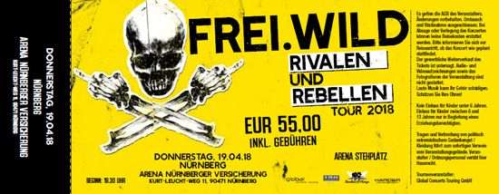 Frei.Wild, 19.04.2018 - Rivalen & Rebellen Arena, Nürnberg [DE], Arena Nürnberger Versicherung